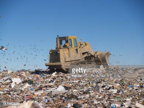 Bulldozer on Sea of Garbage