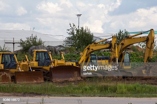 bulldozers and excavators at the site : Stock Photo