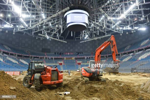 Bulldozers finilise the construction of the circuit for the Krakow's leg of the FIM SuperEnduro World Championship 2018 in Tauron Arena On Friday...