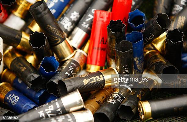 Bullet casings are thrown together at the men's trap qualification shooting event held at the Beijing Shooting Range Hall during Day 2 of the 2008...