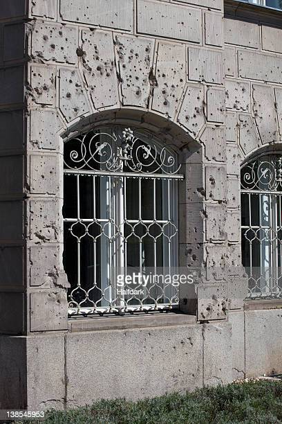 Bullet holes over facade of Berlin building