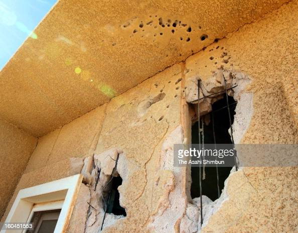 A bullet holes remain at the wall of a residence in the residential area on January 31 2013 in In Amenas Algeria Thirtyseven foreign hostages...