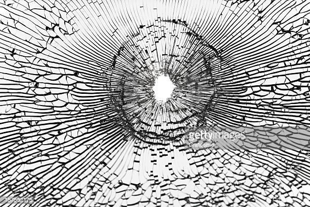 Bullet shot on broken window
