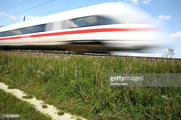 Bullet train breezing down the tracks