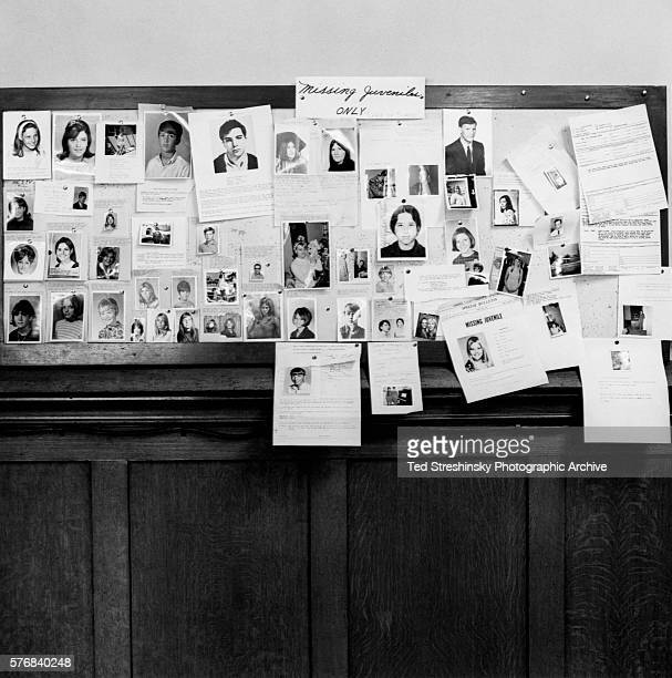 A bulletin board of the Park Police Station in the HaightAshbury district displays photographs of teenage runaways during the Summer of Love |...
