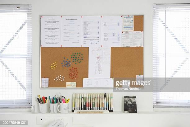 Bulletin board on office wall