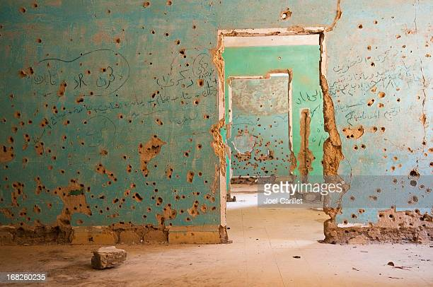 Bullet-riddled rooms in Quneitra, Syria