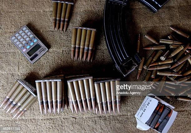 Bullets are seen at a Arbil Gun Bazaar in Kasnazan near the Arbil Iraq on August 20 2014 Dealers say that sales of weapons at the market have slowed...