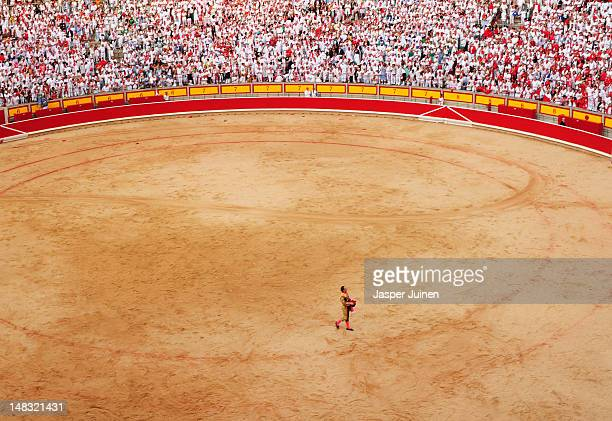 Bullfighter ackowledges the crowd after killing an El Pilar fighting bull on the fourth day of the San Fermin runningofthebulls on July 10 2012 in...