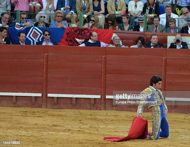 Bullfighter Cayetano Rivera in action during a bullfighting event watched by The Duchess of Alba Cayetana FitzJames Stuart and Alfonso Diez on May 12...