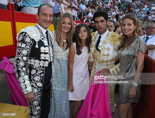 Bullfighter Cayetano Rivera poses with fans during a bullfight at Alicante Bullring on June 23 2010 in Alicante Spain