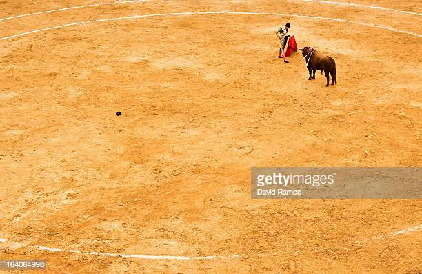 Bullfighter Daniel Luque performs during a bullfight as part of the Las Fallas Festival on March 19 2013 in Valencia Spain The Fallas festival which...
