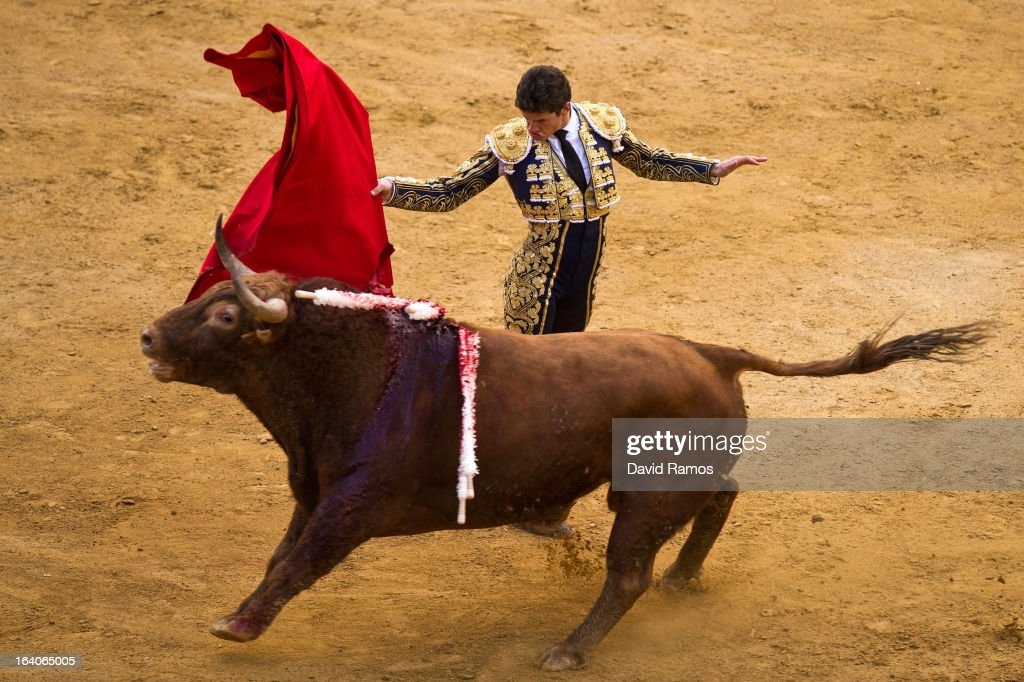 Bullfighter <a gi-track='captionPersonalityLinkClicked' href=/galleries/search?phrase=Daniel+Luque&family=editorial&specificpeople=4300859 ng-click='$event.stopPropagation()'>Daniel Luque</a> performs during a bullfight as part of the Las Fallas Festival on March 19, 2013 in Valencia, Spain. The Fallas festival, which runs from March 15 until March 19, celebrates the arrival of spring with fireworks, fiestas and bonfires made from large ninots (puppets).