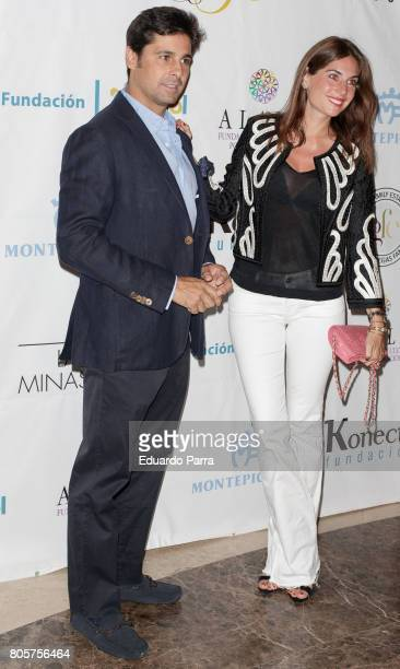 Bullfighter Francisco Rivera and wife Lourdes Montes attends the 'Jose Manuel Soto 30th Anniversay Celebration' photocall at Royal Theatre on July 2...