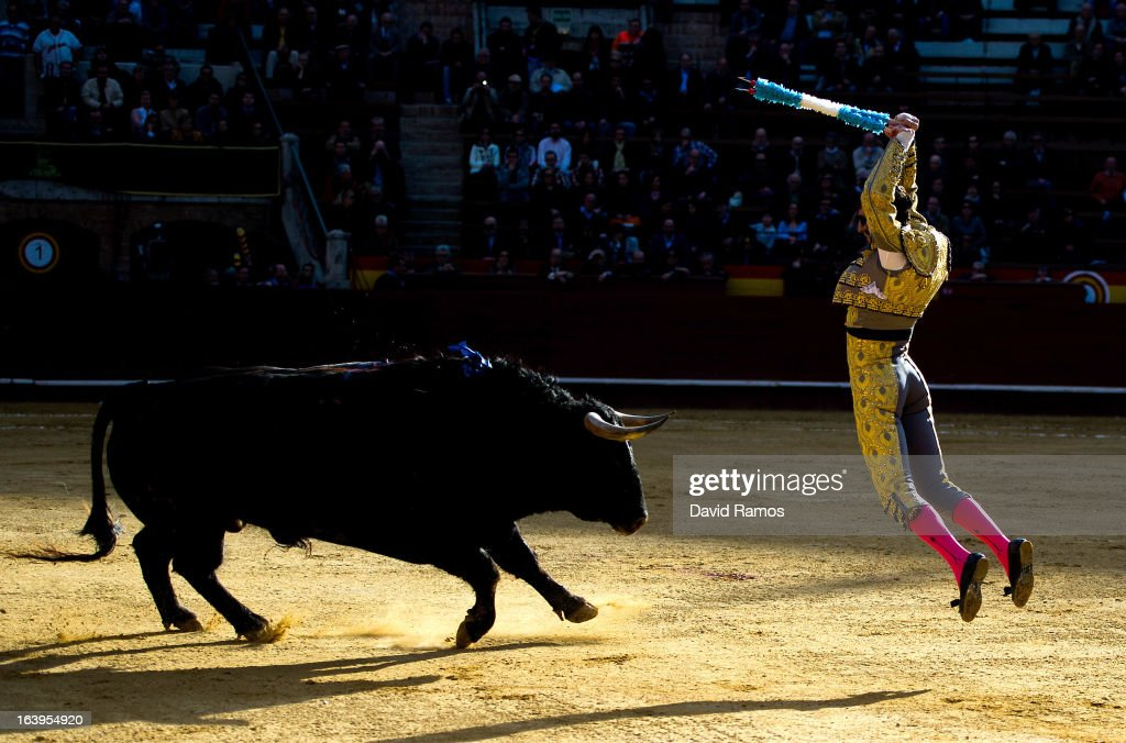 Bullfighter Juan Jose Padill performs during a bullfight as part of the Las Fallas Festival on March 18, 2013 in Valencia, Spain. The Fallas festival, which runs from March 15 until March 19, celebrates the arrival of spring with fireworks, fiestas and bonfires made from large ninots (puppets).