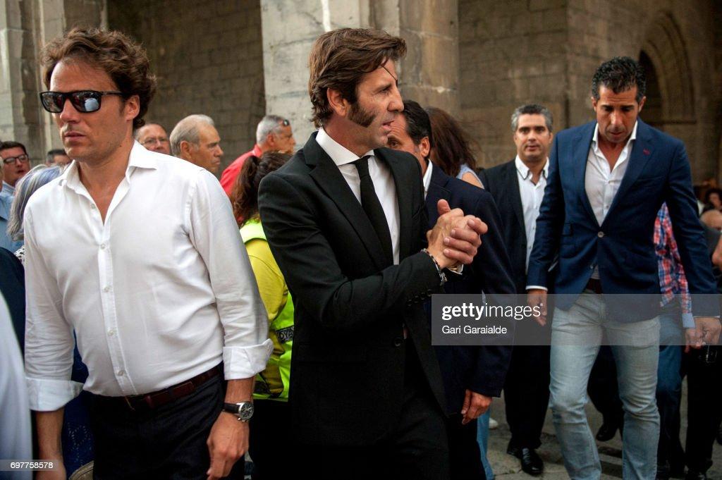 Bullfighter Juan Jose Padilla (C) attends for the funeral for bullfighter Ivan Fandino on June 19, 2017 in Orduna, Spain.