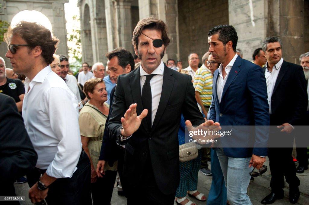 Bullfighter Juan Jose Padilla (C) attends the funeral for bullfighter Ivan Fandino on June 19, 2017 in Orduna, Spain.