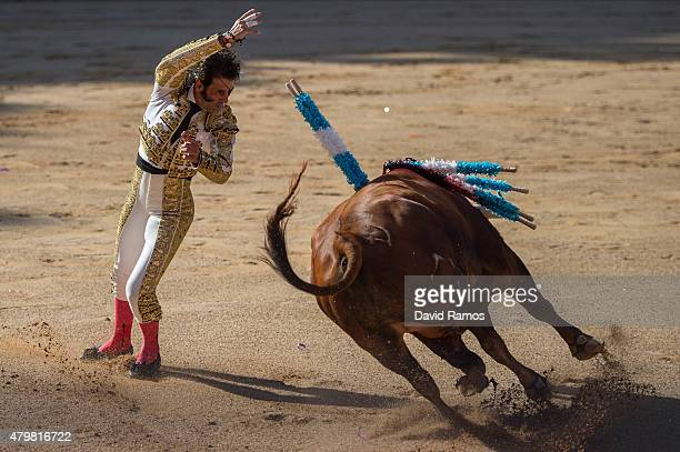Bullfighter Juan Jose Padilla performs during a bullfight as part of the second day of the San Fermin Running of the Bulls festival on July 7 2015 in...