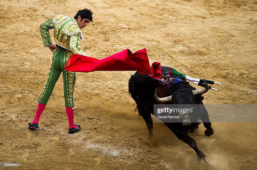 Bullfighter <a gi-track='captionPersonalityLinkClicked' href=/galleries/search?phrase=Miguel+Angel+Perera&family=editorial&specificpeople=751638 ng-click='$event.stopPropagation()'>Miguel Angel Perera</a> performs during a bullfight as part of the Las Fallas Festival on March 18, 2013 in Valencia, Spain. The Fallas festival, which runs from March 15 until March 19, celebrates the arrival of spring with fireworks, fiestas and bonfires made from large Ninots (puppets).