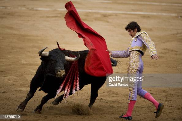 Bullfighter Sebastian Castella of France performs during the second bullfight of the 2011 season at the Monumental bullring on July 10 2011 in...