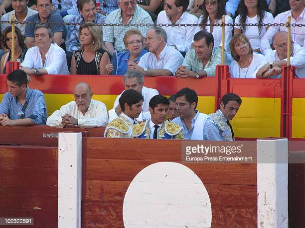 Bullfighters and brothers Francisco and Cayetano Rivera perform during a bullfight at Alicante Bullring on June 23 2010 in Alicante Spain