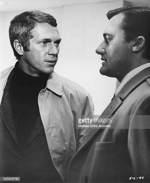 Bullitt talks with Chalmers in a scene from the movie 'Bullitt' which was released October 17 1968
