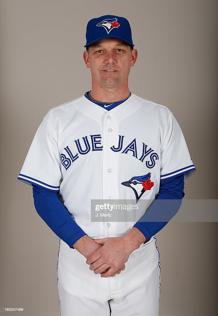 Bullpen coach Pat Hentgen #41 of the Toronto Blue Jays poses for a photo during photo day at Florida Auto Exchange Stadium on February 18, 2013 in Dunedin, Florida.
