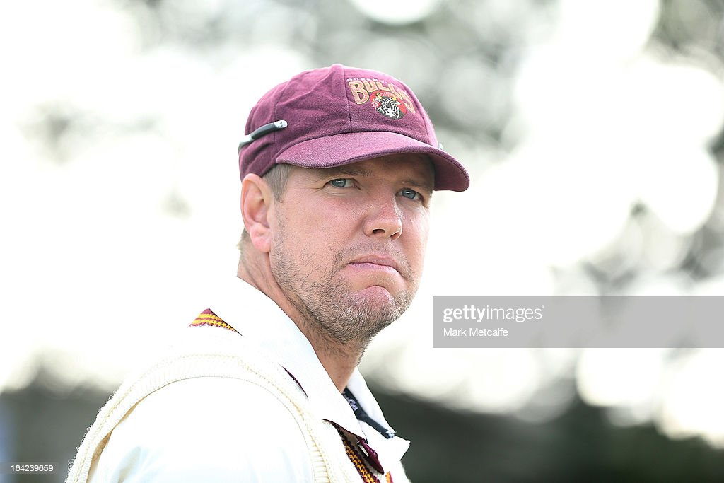 Bulls captain <a gi-track='captionPersonalityLinkClicked' href=/galleries/search?phrase=James+Hopes&family=editorial&specificpeople=208940 ng-click='$event.stopPropagation()'>James Hopes</a> looks on prior to the start of day one of the Sheffield Shield final between the Tasmania Tigers and the Queensland Bulls at Blundstone Arena on March 22, 2013 in Hobart, Australia.