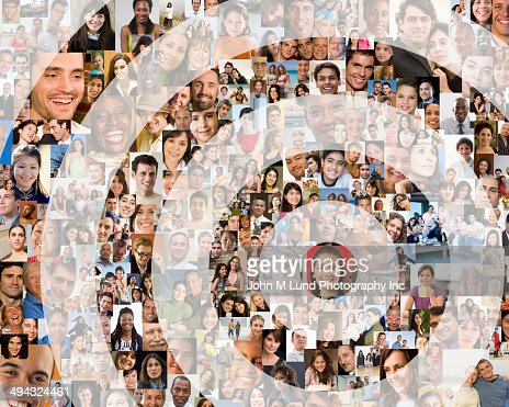 Bull's-eye over collage of smiling faces
