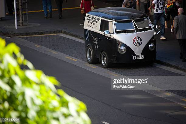 Bully bus advertising a magic shop sits on the street with the number plate 'I TRICK' on November 24 2010 in Auckland New Zealand