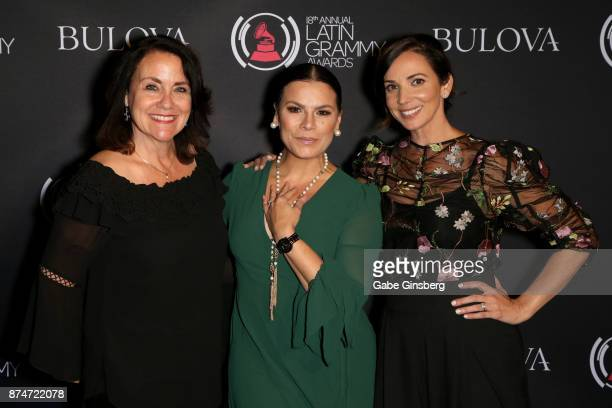 Bulova Regional Manager of Merchanising Sheri Francis Olga Tanon and Bulova brand representative Yuri Ayala attends the gift lounge during the 18th...