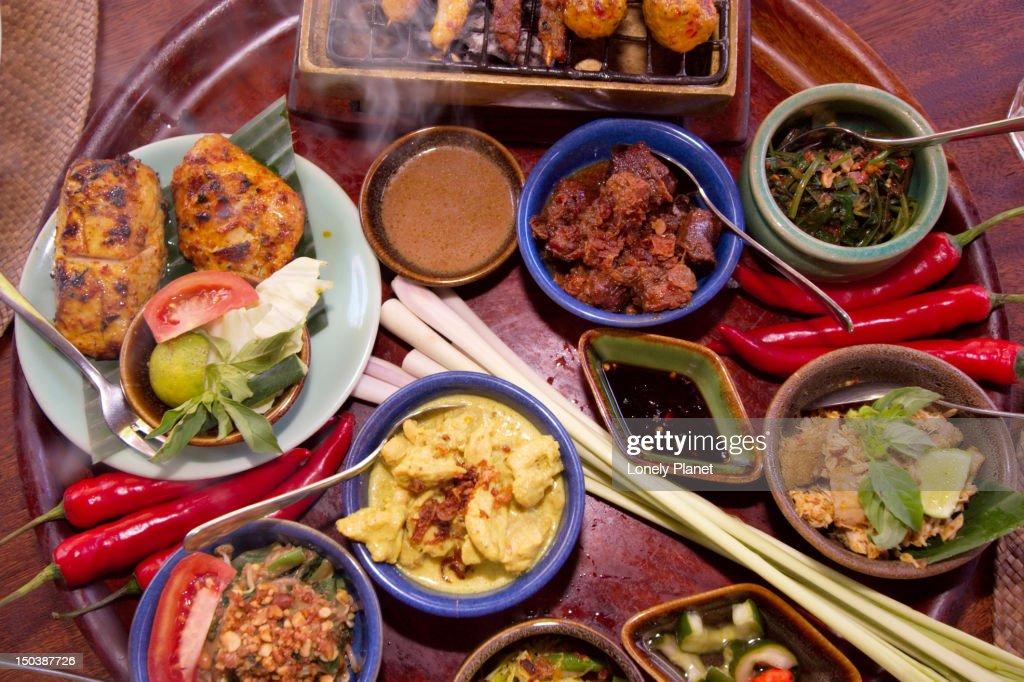 Bumbu Bali restaurant specialty dishes. : Stock Photo