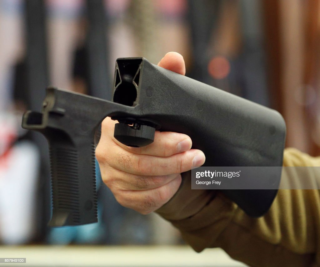 A bump stock device that fits on a semi-automatic rifle to increase the firing speed, making it similar to a fully automatic rifle, is shown here at a gun store on October 5, 2017 in Salt Lake City, Utah. Congress is talking about banning this device after it was reported to of been used in the Las Vegas shootings on October 1, 2017.