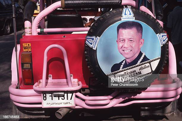 A 'bumper sticker' of Thai politician Chamlong Srimuang who is known in Thailand as Mr Clean a reference to his moral standing in the corrupt world...