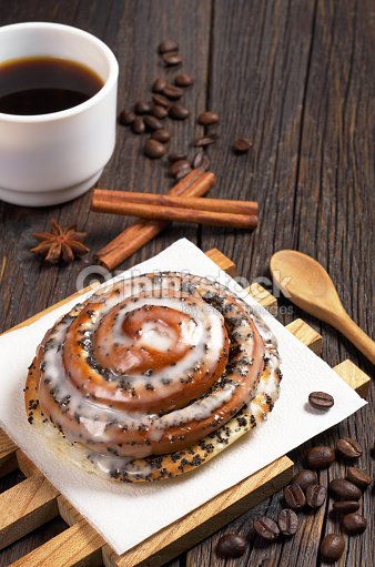 Bun with poppy and coffee