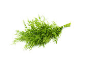 Bunch fresh dill isolated on white background.