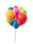 Bunch of colourful helium balloons. Background Isolated.