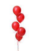 Bunch of big red balloons object for birthday party isolated on a white background