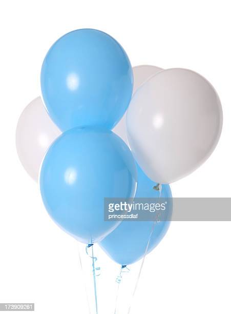 Bunch of blue and white balloons