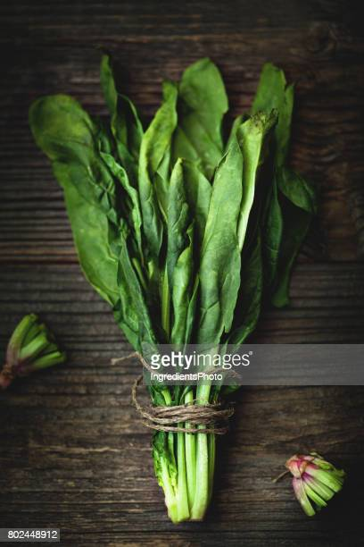 Bunch of fresh green spinach on a wooden table.