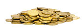 A bunch of gold coins. Isolated white background