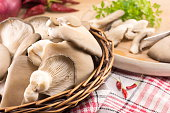 bunch of  fresh oyster mushrooms ready for cooking