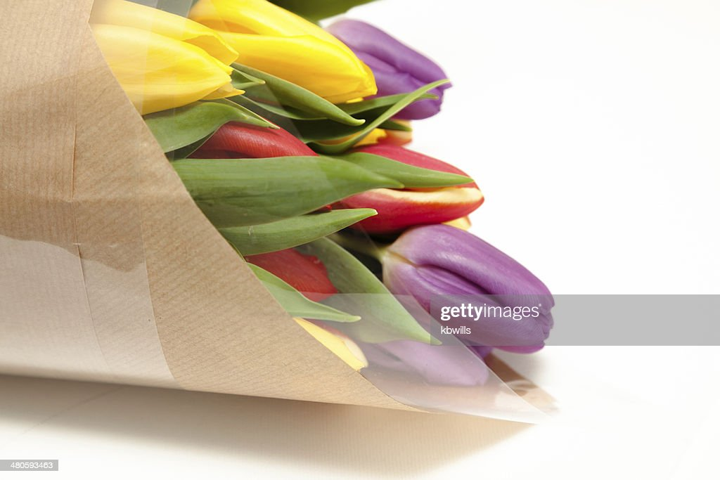 bunch of rainbow tulips in brown paper wrap : Stock Photo
