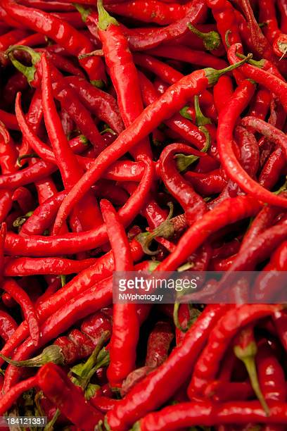 A bunch of red hot chili peppers