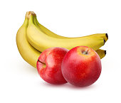 Bunch of ripe bananas and two red apples, isolated on white background with shadow. The whole fruit.