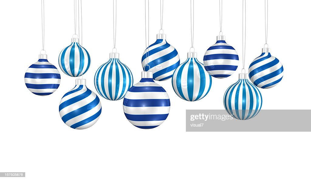 bunch of xmas ornaments hanging on a chain : Stock Photo