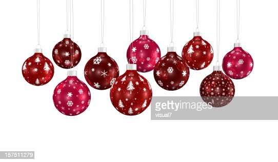 bunch of xmas ornaments hanging on a chain : Bildbanksbilder