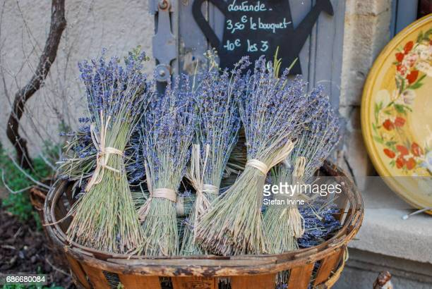 Bunches of lavender for sale at a shop in Baux de Provence