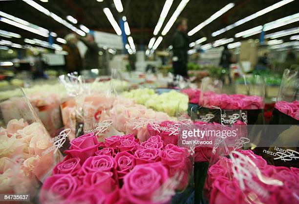 Bunches of roses are displayed on a flower stall in New Covent Garden Flower Market on February 11 2009 in London England New Covent Garden Flower...