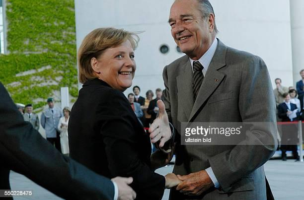 Bundeskanzlerin Angela Merkel empfängt Staatspräsident Jaques Chirac in Berlin